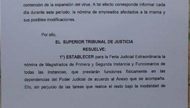 Nómina de afectados hasta el 10 de mayo a prestar servicios en la extensión  de la feria judicial extraordinaria